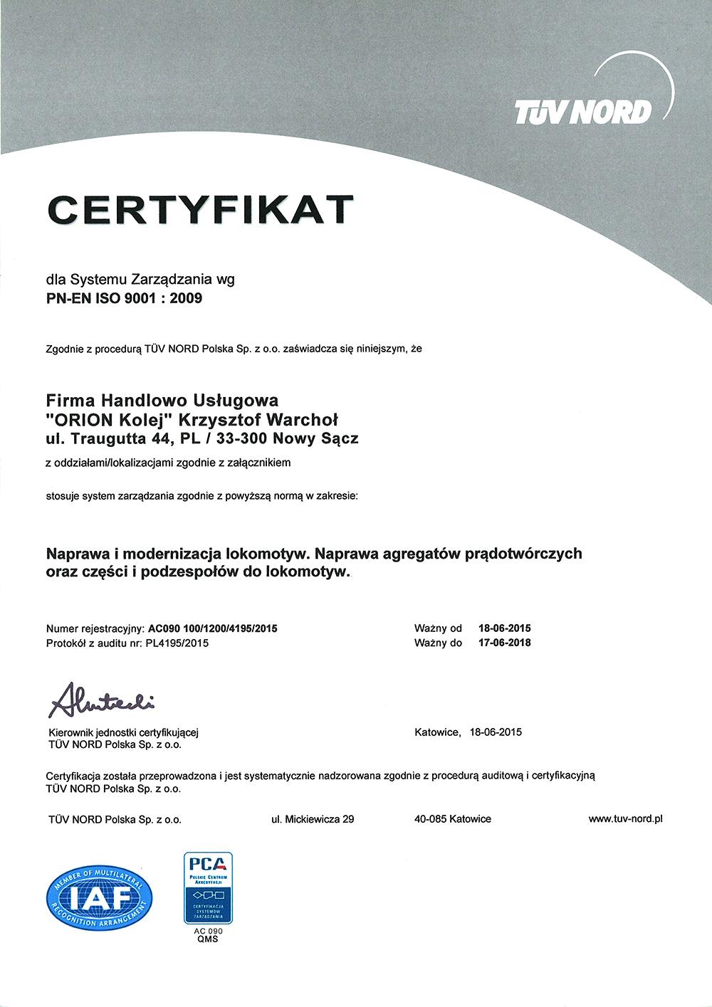 Certyfikat Jakości Orion Kolej