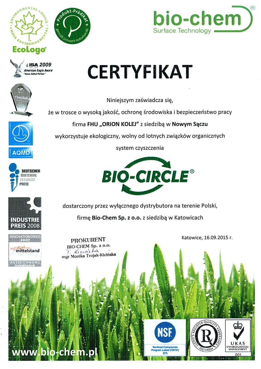 Certyfikat Ekologia Orion Kolej